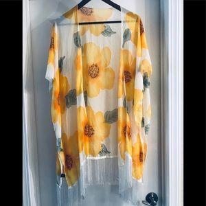 Yellow floral fringed kimono wrap